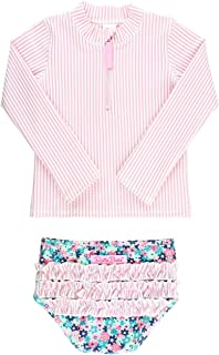 RuffleButts Little Girls Long Sleeve Rash Guard 2 Piece Swimsuit Set w/UPF 50+ Sun Protection with Zipper