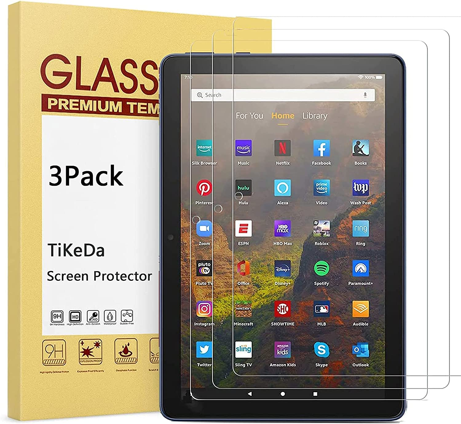 [3 Pack]-TiKeDa Screen Protector for All New Fire HD 10 Tablet 2021/Fire HD 10 Plus/Fire HD 10 Kids/Fire HD 10 Kids Pro Tablet 2021 Release 10.1