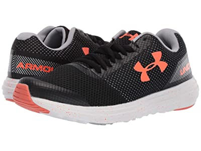Under Armour Kids UA BGS Surge Running (Big Kid) (Black/White/Orange Glitch) Boys Shoes