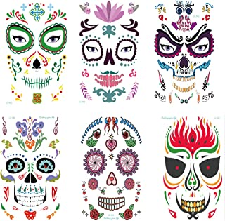Intoy 6 Pack Sugar Skull Temporary Face Tattoo, Waterproof and Horror Tattoo Stickers for Day of The Dead Halloween Masquerade and Parties, for Men and Women