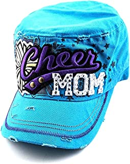 Crazy4Bling 3D Embroidery Turquoise Embellished Cheer Mom Military Style Baseball Hat Cap