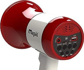 Magikl Mégaphone Porte Voix - Puissant et Léger - Sirène, Lecteur MP3 et Enregistreur - Batterie Rechargeable et Câble de ...