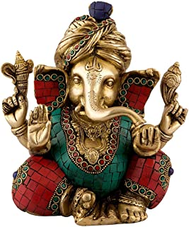 Ganesh Statue Large Brass Ganesha Sculpture with Turquoise Work