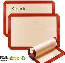 [3 unidades] OCMCMO Tapete de silicona para hornear, 2 Grandes y 1 Pequeño, Estera de Horno Antiadherente, reutilizables, esistentes al calor, sin BPA, para moldes para hornear y Pastelería