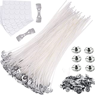 Candle Wicks|100PCS 8 inch Natural Cotton Candle Wick with 100PCS Metal Bases|100PCS Stickers for DIY Craft Candles Making...