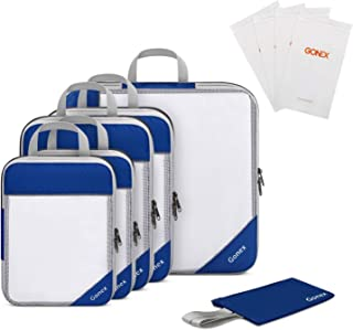 Compression Packing Cubes, Gonex Extensible Storage Mesh Bags Organizers, Pack of 5 Mesh Bags, 1 Hidden Pocket & 4 Reusable Zip Bags Deep blue