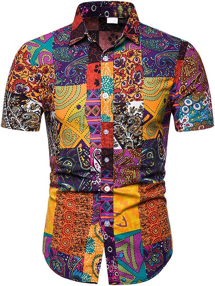 Men's Bohemia Printed Casual Cotton Button Down Short Sleeve Flower Shirt