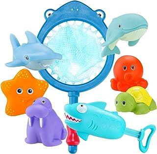 Locisne 8pcs océan Animaux bébé Jouets Bain,flotteurs pulvérisation Jeu Bain sûr Jouet Cadeau pour Les Enfants(Filet,étoil...