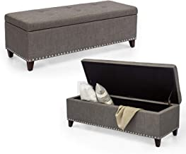 Adeco Classic Rectangular Large Fabric Ottoman Bench with Storage, 48x17x16, Gray
