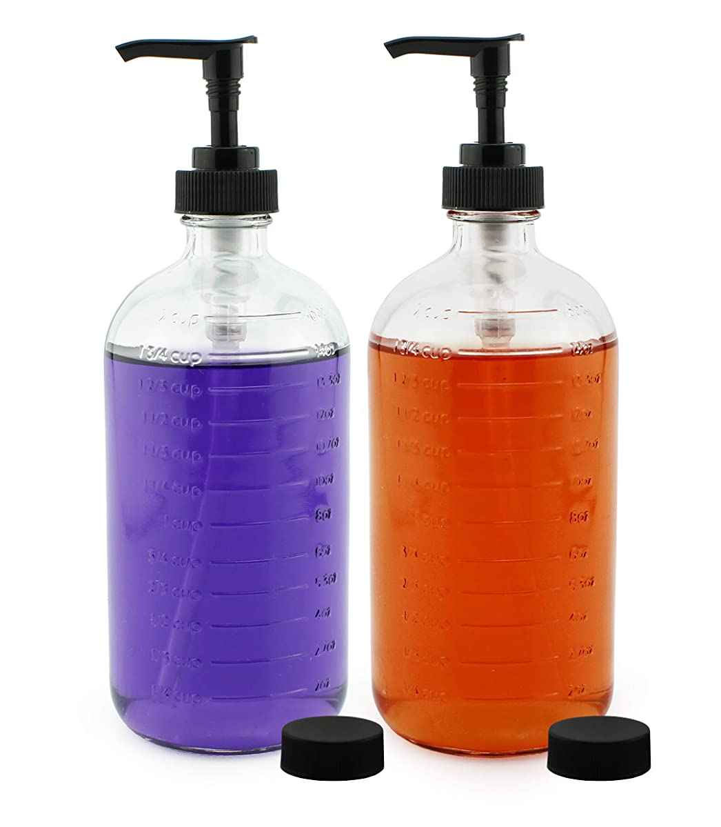 Cornucopia Brands 16-Ounce Clear Glass Pump Bottles with Measurements (2-Pack); Graduated Markings Soap and Lotion Dispensers