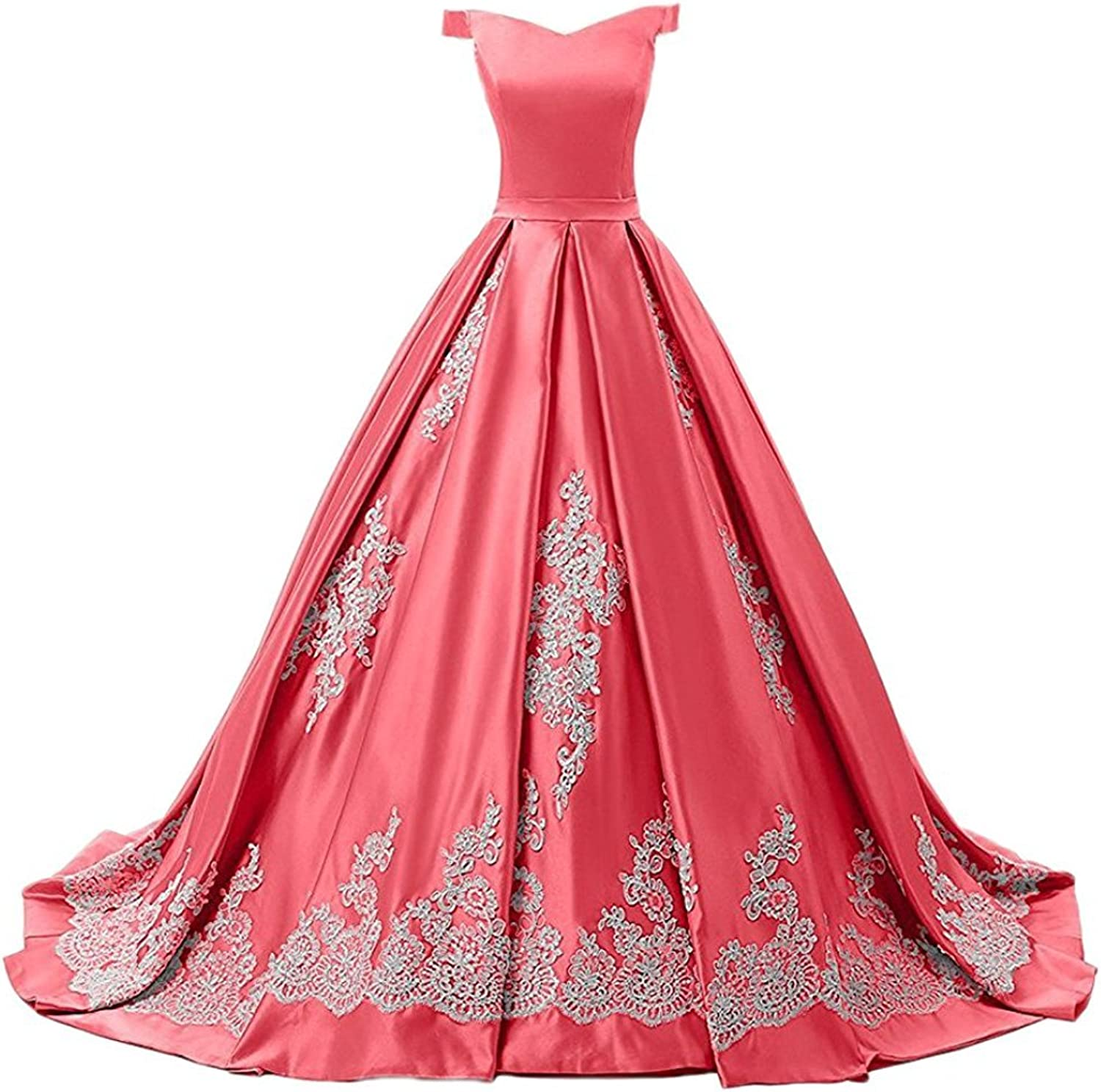 GURNALL Satin Sweet 15 Dress Off The Shoulder Long Ball Gown Quinceanera Dresses