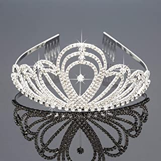 HIPIHOM Crystal Rhinestones Crown with Comb Wedding Tiara Bridal Hairband for Women Girls