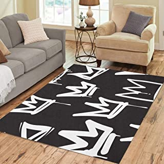 Semtomn Area Rug 5' X 7' Tags Black and White Graffiti in Hip Hop Street Home Decor Collection Floor Rugs Carpet for Living Room Bedroom Dining Room