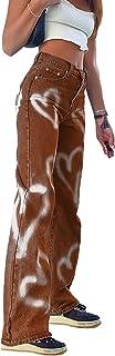Pantalones vaqueros de pierna ancha con estampado de corazón, rectos, de mezclilla casual, holgados, para mujer, color marrón