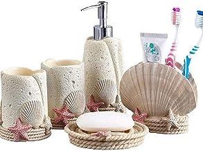 Bathroom Accessories Set, 5 Piece Resin Bath Set Collection Features Soap Dispenser Pump, Toothbrush Holder, Tumbler, Soap...