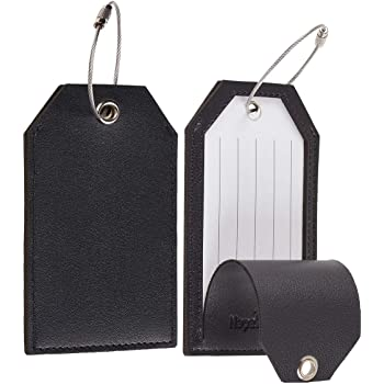 Toughergun Leather Instrument Baggage Bag Luggage Tags with Privacy Cover 2 Pcs Set (Black)