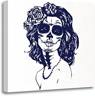 Emvency Canvas Wall Art Print Black Calavera Sugar Girl Santa Muerte Woman with Skull Make Up Face Tattoo Stock White Carnival Artwork for Home Decor 12 x 12 Inches