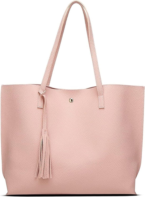 Women's Soft Faux Leather Tote Shoulder Bag Large Capacity Tassel Handbag Candy Solid Color Hobo Bag Fashion Design Satchel