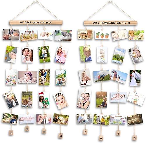 Uping Marco Fotos para Pared Colgar Fotos Pared con Pinzas, Decoración del Hogar Y Regalo (2 Pack, con Pegatinas de A...