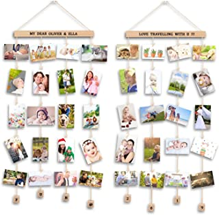 Uping Cadre Photo Mural Pêle Mêle Photos avec Porte Photos Pinces, Décoration Maison et Cadeau Mariage Anniversaire (Lot d...