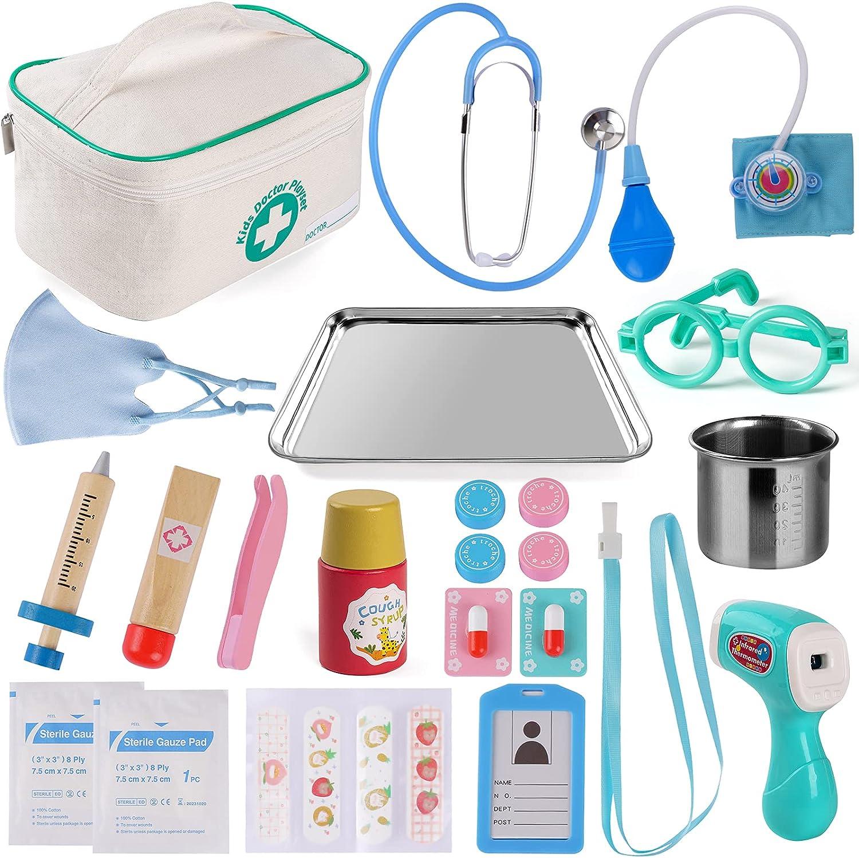 Tigerhu Doctor Kit for Kids, 27Pcs Pretend Play Educational Doctor Toys Dentist Medical Kit with Stethoscope & Medical Storage Bag for Toddler Boys Girls
