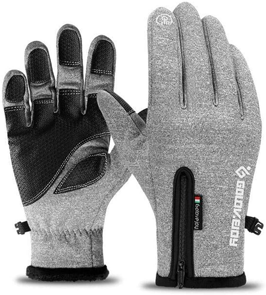 Cold-proof Unisex Waterproof Winter Gloves Cycling Fluff Warm Gloves Gray Gloves S Refer Size Chart