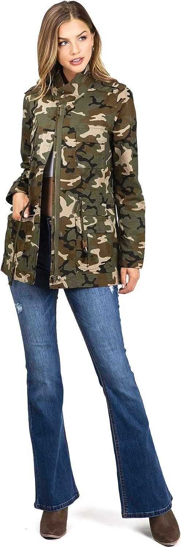Love Tree Women's Juniors Cargo Parka Camouflage Print Jacket