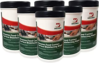 Dreumex Food Contact Disinfecting Wipes, Large Multipurpose Wet Wipes for Surfaces, 6 Canisters of 100 Count, Professional Grade Disinfectant for Kitchen, Restaurant, Cafeterias, Schools and More