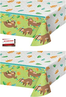 (2 Pack) Three Toed Sloth Cute Jungle Animal Party Plastic Table Cover 54 X 102 Inches (Plus Party Planning Checklist by Mikes Super Store)