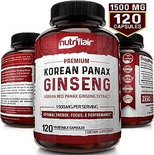 NutriFlair Korean Red Panax Ginseng 1500mg - 120 Vegan Capsules - High Strength Ginseng Root Ginsenosides Extract Powder Supplement - Energy, Focus, Libido, Performance Pills for Women & Men, Non-GMO