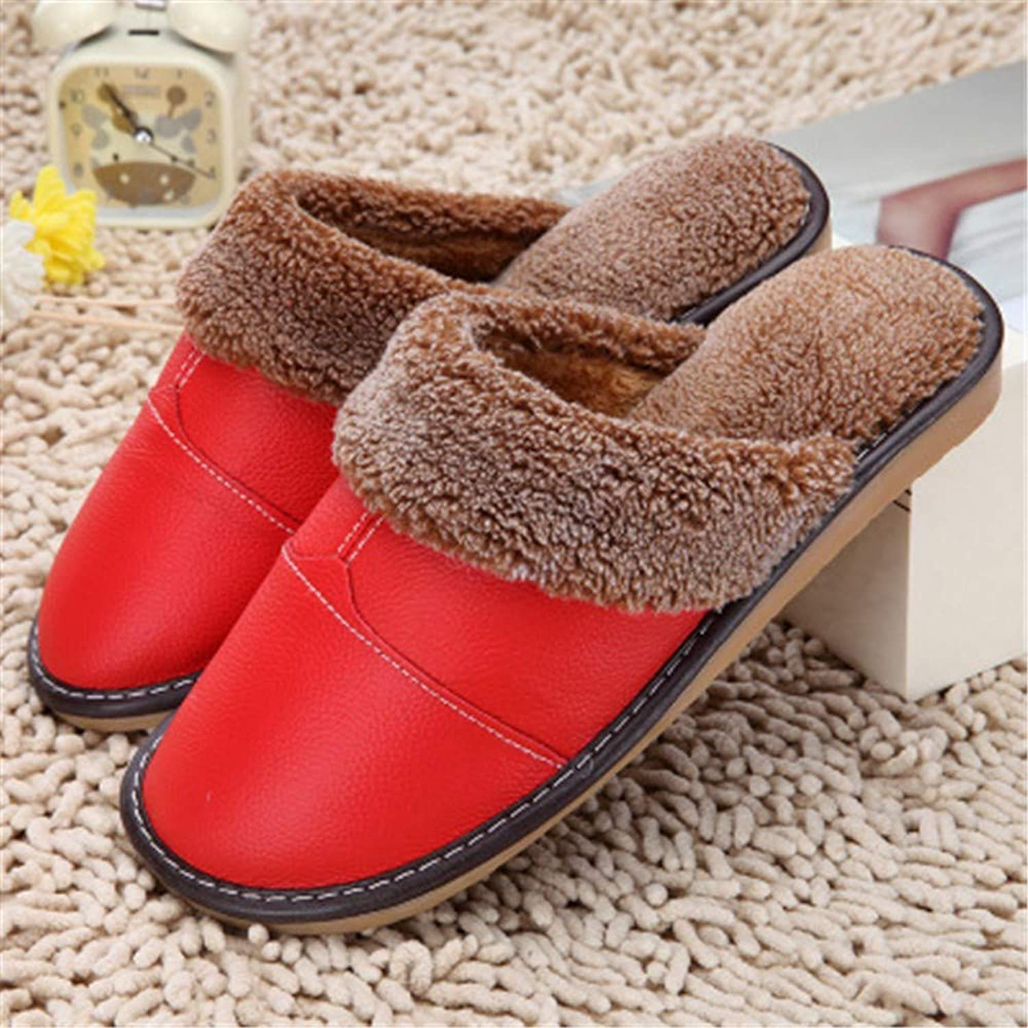 NIGHT WALL Comfortable Slip-on Winter Men's Cotton Slippers Winter Ladies Slip Leather slippersHouse shoes Indoor & Outdoor