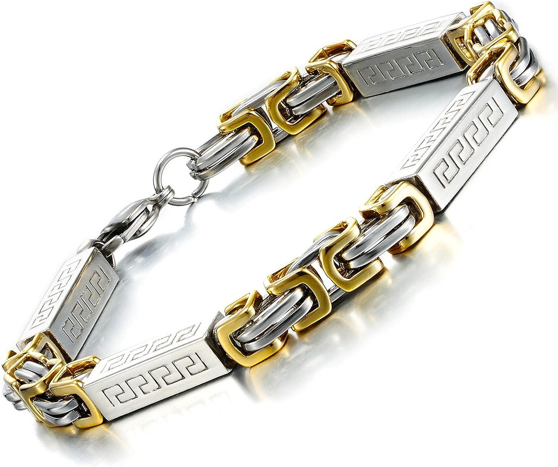 Impressive Men's Stainless Max Detroit Mall 68% OFF Steel Byzantine Chain Gold Bracelet