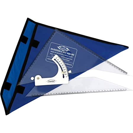 """POPULAR Adjustable Set Square – Inking Edge – Sides Beveled – All 3 Side Markings – Packed in Canvas Cover (10""""/ 25cm)"""