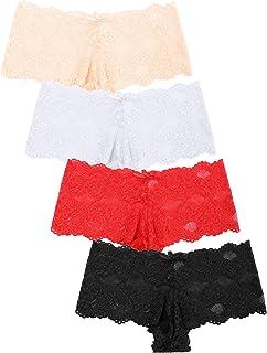 Aibrou Donna Mutande Intimo Sexy Slip Brasiliana Pizzo Slip Senza Cuciture Slip Bikini Ultra Sottili da 4