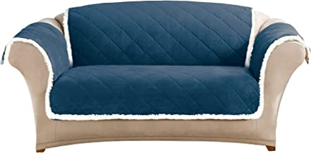 SureFit Soft Suede & Sherpa Navy Blue/Cream Reversible Throw for Loveseat