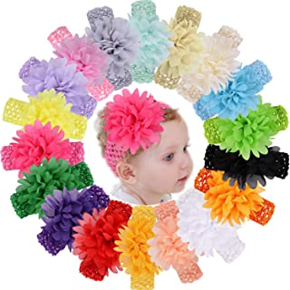 18pcs Baby Girls Headbands - Chiffon Flower Soft Strecth Hair Bands Hair Accessories for Newborns Infants Toddlers and Kids