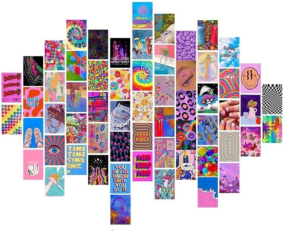 YuMeng 60pc Album Funda Aesthetic Pictures Wall Collage Kit Wall Collages Set Indie Álbum Estilo Fotos Colección Dormir Decoración-COLLAGs Pared Conjunto de Indie