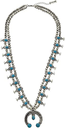 Steve Madden - Double Beaded Strand w/ Turquoise Bead Horseshoe Pendant Necklace