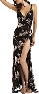 BerryGo Women's Sexy Backless Halter High Split Floral Sequin Maxi Dress
