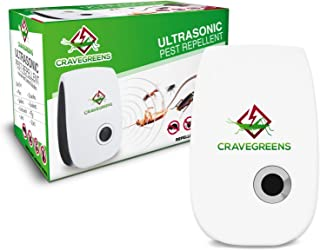 Cravegreens Dual Microchip Ultrasonic Pest Repeller Mice Control Variable Electromagnetic Insect Repellent Reject Rodent Bed Bug Mosquito Ant Fly Cockroach Spider and More, White