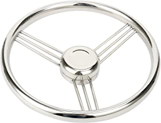 Amarine Made 13.5 Inch 9 Spoke Stainless Boat Steering Wheel - 10 Degree - 9500S380
