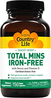 Country Life - Target Mins Total Mins Iron-Free - Multi-Mineral Complex with Boron and Vitamin D - 150 Vegetarian Capsules