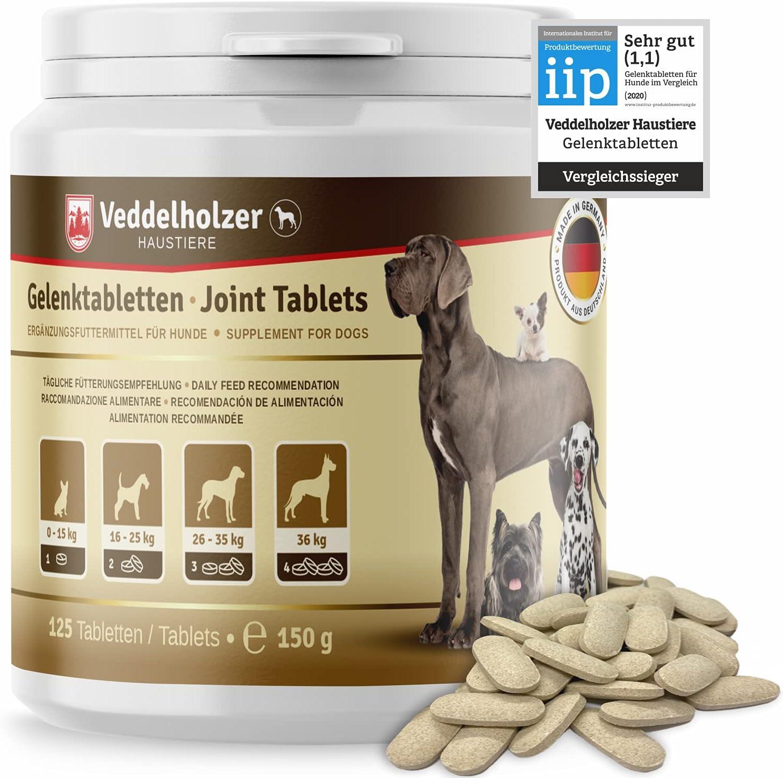 Los comprimidos condroprotector perros para articulaciones Veddelholzer con MSM, harpagófito glucosamina colágeno 125 cápsulas
