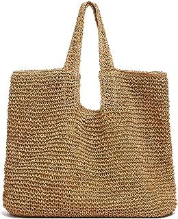 Women's Handbag Straw Bag Straw Wallet Rattan Bag Beach Shoulder Bag New Trend Accessories (Color : Natural, Size : 38 * 35 * 17cm)