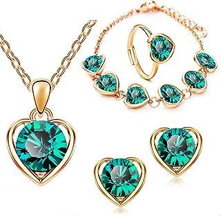 Sukkhi Crystals from Swarovski Gold Plated Heart Combo (CBMIX80967)