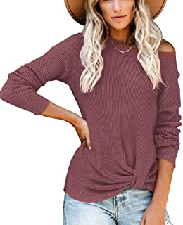 Womens Waffle Knit Knot Front Top Long Sleeve Crewneck Sweatshirt Brick Red S