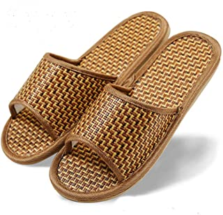 Women's Men's House Flax Bamboo Straw Slides Open-Toe Slippers Flip Flop Slip on Bath Spa Summer Sandal Lightweight Shoes Breathable Four-Season Indoor