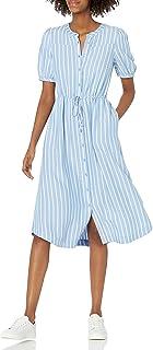 Amazon Essentials Women's Feminine Half Sleeve Waisted Midi A-line Dress