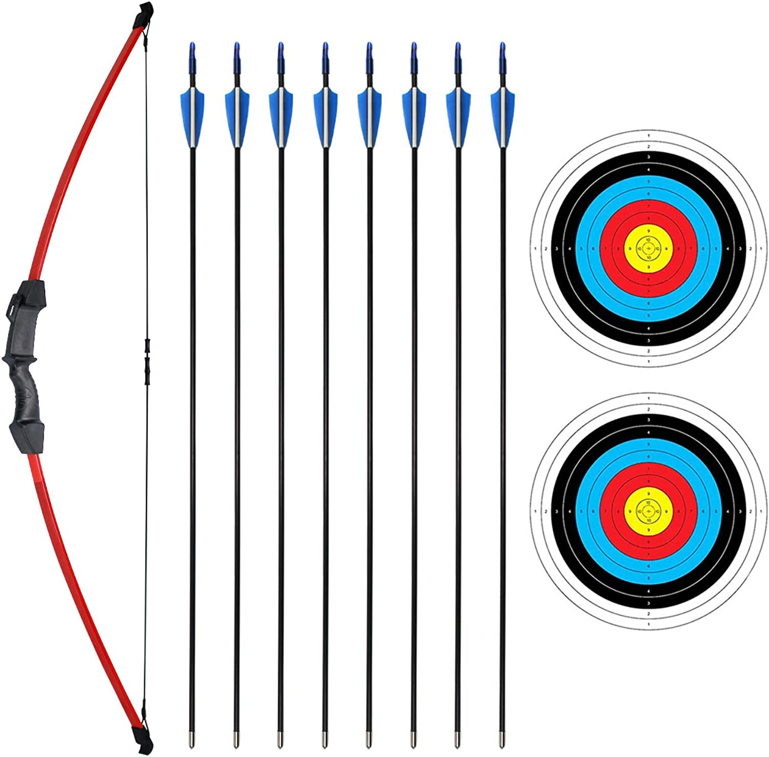 SinoArt 45  Recurve Bow and Arrow Set for Kids Archery with 8 Arrows 2 Target Paper