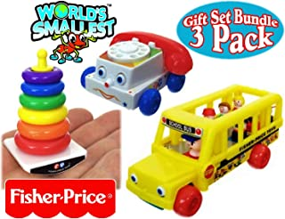 World's Smallest Fisher-Price Chatter Telephone, Rock-A-Stack & Little People School Bus Complete Gift Set Party Bundle - 3 Pack